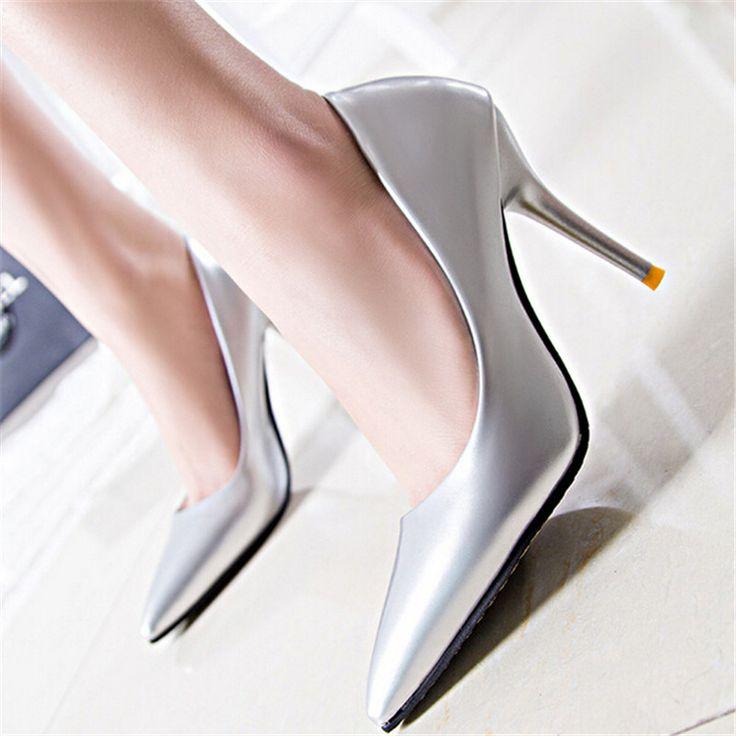 Eur: 34-39 Весна/Осень элегантный сексуальный острым носом на высоком каблуке серебряные тонкие каблуки одной обуви ол туфли на высоком каблуке свадьба/платье насосы