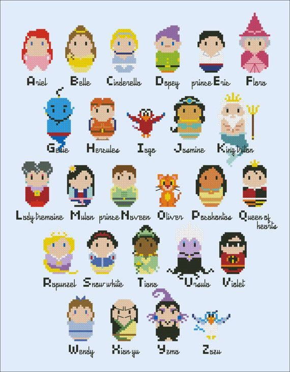 Princesses parody alphabet sampler Cross stitch by cloudsfactory