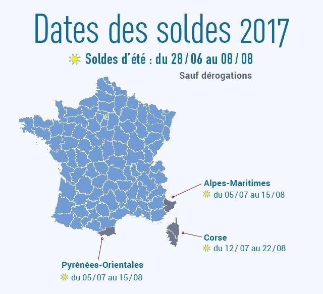 Dates officielles des soldes d'été 2017 en France métropolitaine avec les périodes différentes pour certains départements : http://www.quiestouvert.com/blog/articles/lancement-des-soldes-d-ete-2017-dans-les-commerces-de-proximite-127.html