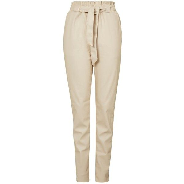 Pu Belted Trousers by Glamorous Tall (190 SAR) ❤ liked on Polyvore featuring pants, stone, high-waisted pants, high-waist trousers, highwaist pants, pu pants and tall trousers