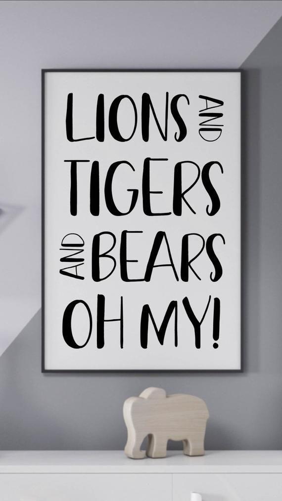 A5 or A4 Lions Bears Oh My Nursery Bedroom Decor Kids Wall Prints Tigers