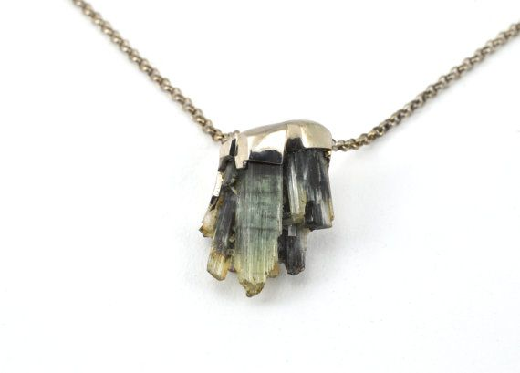 Silver pendant and chain with natural tourmaline by BethCarina