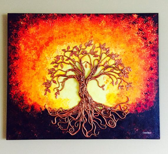 Original painting mixed media. Polymer Clay and by LunaDelSurArt