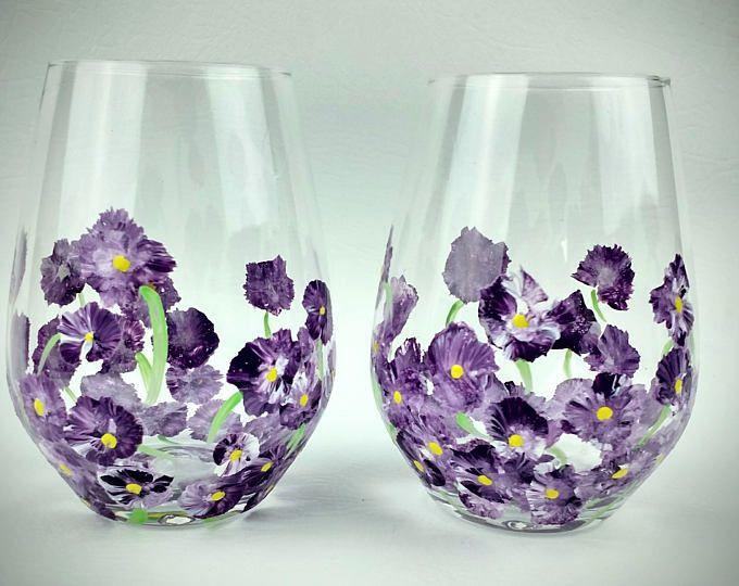 Purple Flower, hand painted, Stemless Wine Glasses, gift for her, purple wine glass set, stemless, spring wine glasses