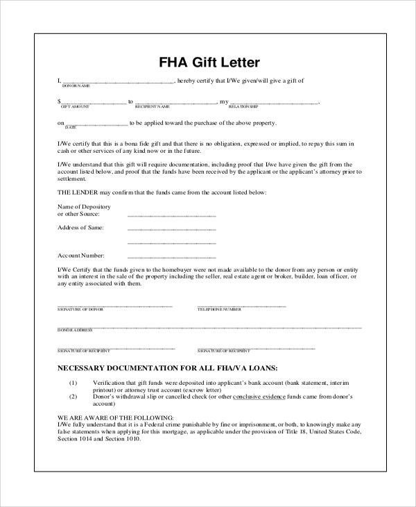 Gift Of Equity Letter Template Best Of 13 Sample Gift Letters Pdf