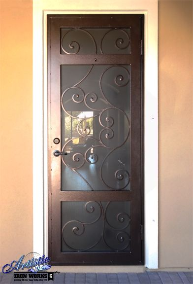 Wrought Iron Security Screen Door With Scroll Work   SD0275