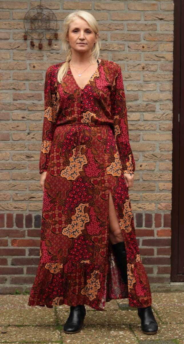 bohemian maxikleid langarm batik rot bdquo shot by love ldquo 89 00