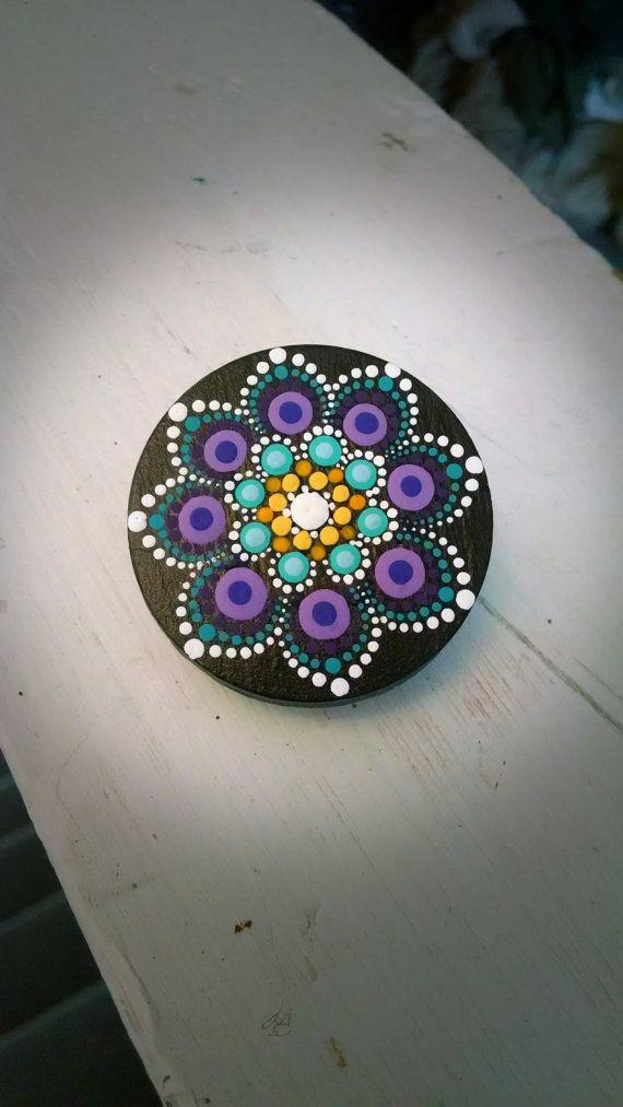 Hand Painted Slate Stone Colorful Dot Art por P4MirandaPitrone