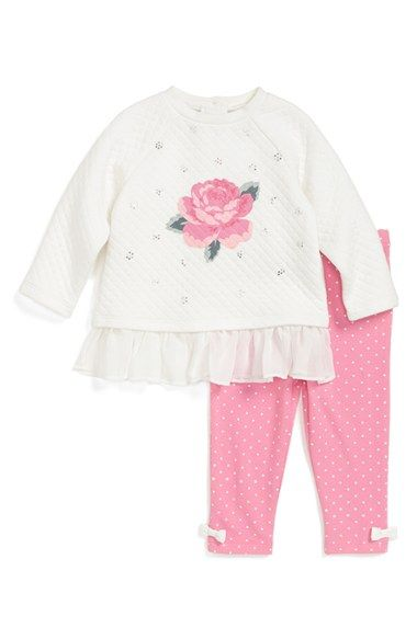 Little Me Quilted Raglan Sleeve Sweatshirt & Leggings (Baby Girls) available at #Nordstrom