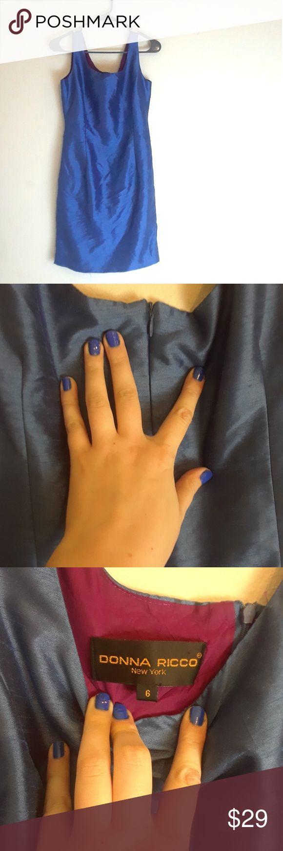 Donna Ricco | Satin Dress Blue exterior, purple interior. Satiny material. Zipper in the back. Donna Ricco Dresses
