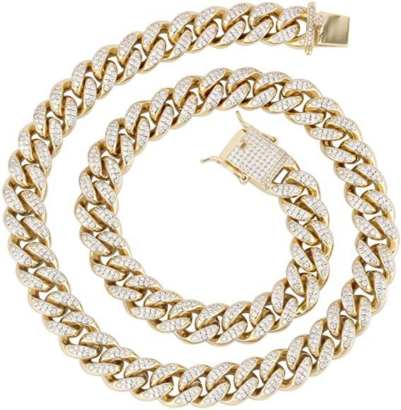 Py Bling Mens Iced Out Hip Hop 12mm Miami Cuban Link Chain Choker 14k 18k Gold White Gold Plated Cz Lab Di Chain Choker Cuban Link Chain Miami Cuban Link Chain