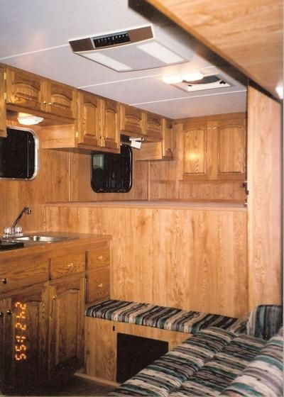 diy living quarter conversions | Horse Trailer Living Quarters  Love the variety of cabinets!!