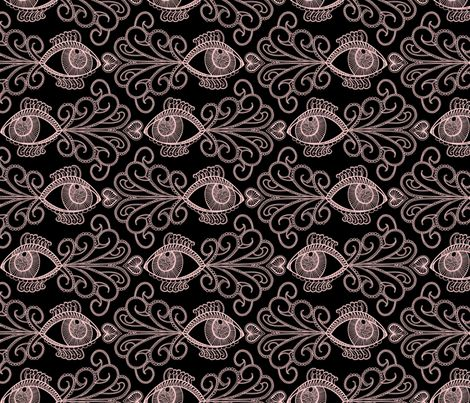 Looking out for our oceans_Pink on blk fabric by danidesign on Spoonflower - custom fabric