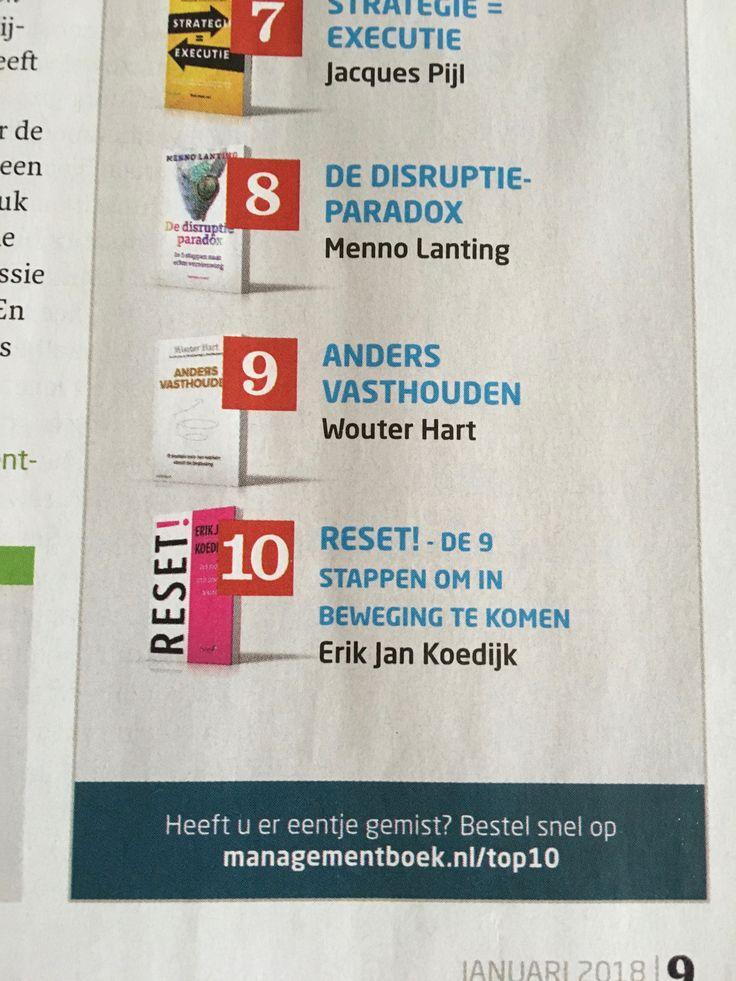 Het boek 'RESET!, de 9 stappen om in beweging te komen' van Erik Jan Koedijk staat op nummer 10 van de best verkochte boeken van 2017 bij Managementboek! #reset #erikjankoedijk #mgtboeknl #futurouitgevers