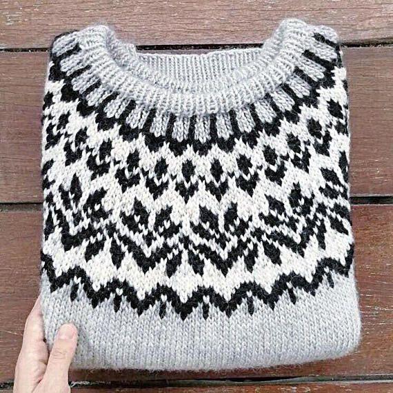 Cashmere Icelandic sweater. Lopapeysa. Fair isle sweater.