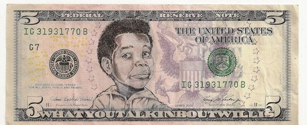 """James Charles Whatyoutalkinboutwillis Ink Drawing on United States Bank Note 11x7.5"""" Framed $800"""