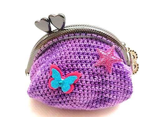 porte monnaie tricot bourse violet de la boutique lafabriquedevanessa sur Etsy