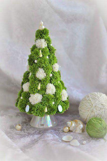 Забавные новогодние украшения из помпонов - Ярмарка Мастеров - ручная работа, handmade