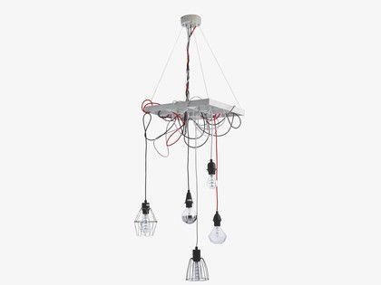 FLEX MULTI-COLOURED Wood 5 drop ceiling light - HabitatUK