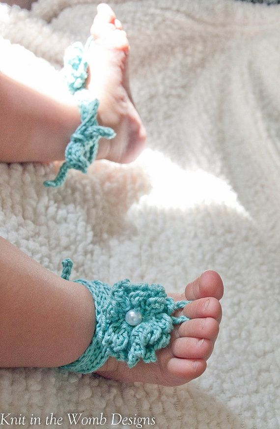 Baby Flower Footless Sandals  MADE TO ORDER  one by knitinthewomb, $10.00