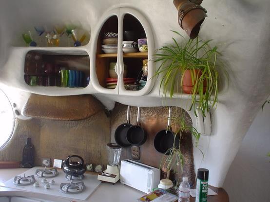 Cob house kitchen.