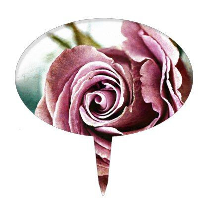 Pink Rose Gritty Vintage Cake Topper - vintage romantic gifts ideas diy