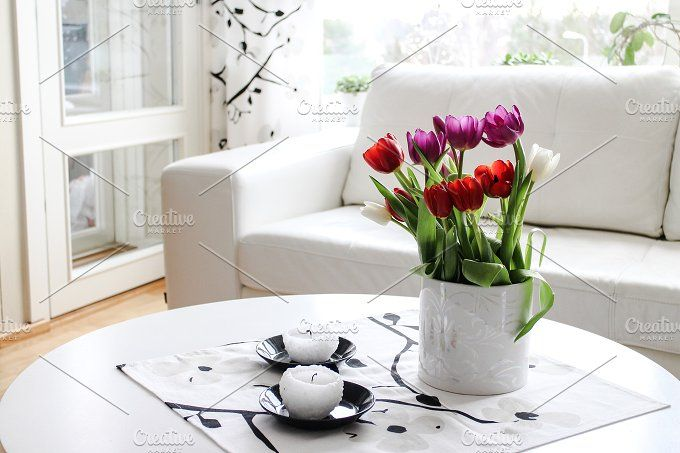 Livingroom with tulips by Matilda Kohonen on @creativemarket