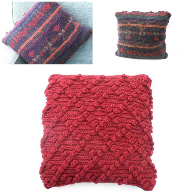 Red chunky cushion cover £33.00