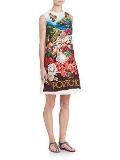 Dolce & Gabbana - Embellished Portofino-Print Shift Dress