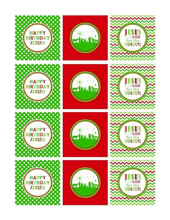Happy Birthday Jesus Printables | red and green Happy Birthday Jesus cupcake toppers - FREE Printable ...