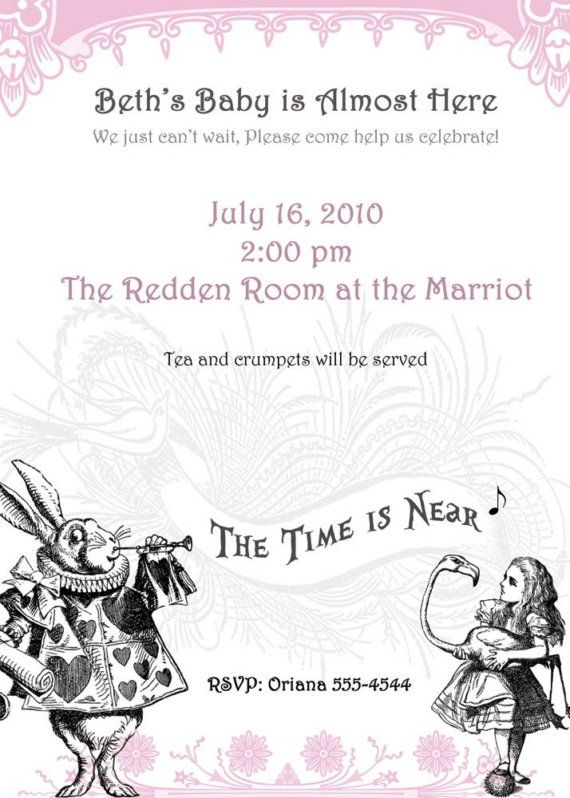alice in wonderland baby shower invitations set of 20 by rootdown 32