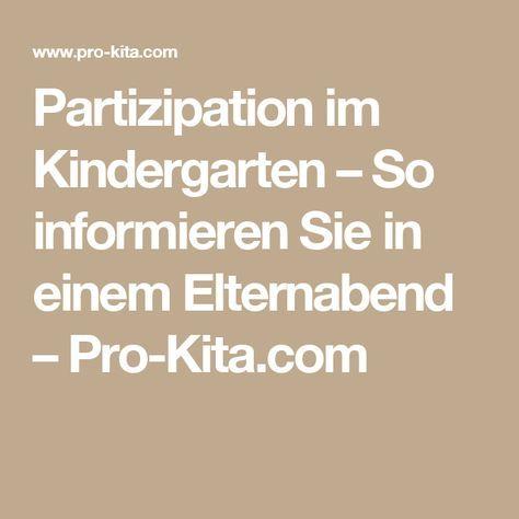 Partizipation im Kindergarten – So informieren Sie in einem Elternabend – Pro-Kita.com