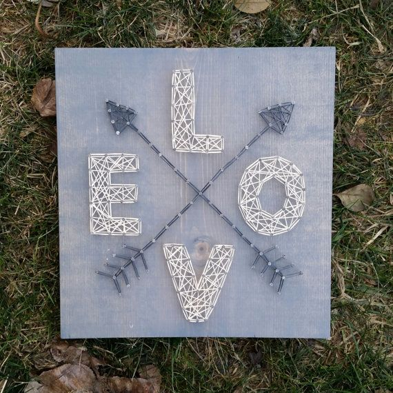 Made to Order String Art Love with Arrows Sign by BlossomingBurlap
