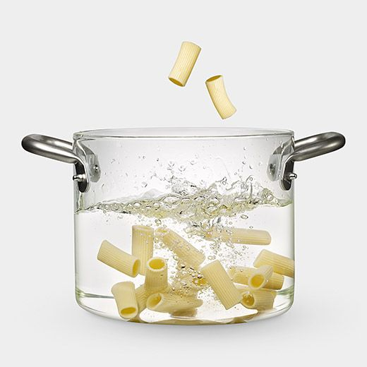 See through glass pot to watch what you're boiling. Flameproof tempered borosilicate glass (like lab glassware) with stainless steel handles. Designer: Massimo Castagna.  $200