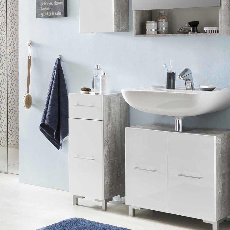 Badezimmer Unterschrank In Weiß Hochglanz Beton Grau Jetzt Bestellen Unter:  Https://moebel