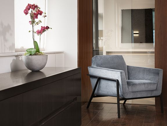 HOLLY HUNT Stilt Coupe Lounge Chair In Our Chicago Showroom
