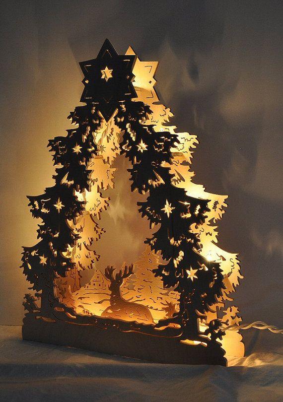 Christmas Tree Deer Lights Holiday Decoration Wood Holiday Decor Schwibbogen