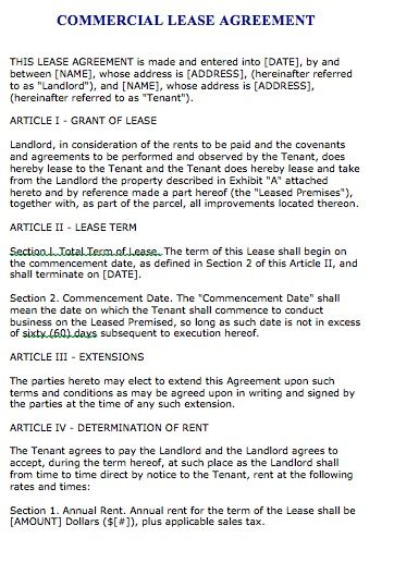 Free Florida Commercial Lease Agreement – Microsoft Word - commercial lease agreement sample