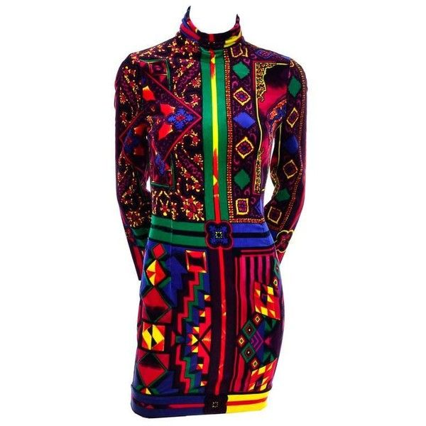 Preowned New 1990s Gianni Versace Vintage Dress In Bold Abstract... ($1,400) ❤ liked on Polyvore featuring dresses, black, cocktail dresses, versace dress, drop-waist dresses, abstract print dress, print dress and bodycon dress