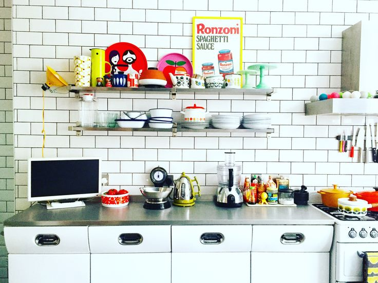 My kitchen. #openshelving #englishrose #tiles #stainlesssteel #colour #pattern #vintage #midcentury