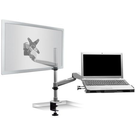 Mount-It! Computer Monitor Riser and Laptop Stand, Ergonomic Flat Screen Display Mount, Desktop Stand and Organizer, Glass and Aluminum Construction, 22 Inches Wide, 44 lb Carrying Capacity (MI-7262)