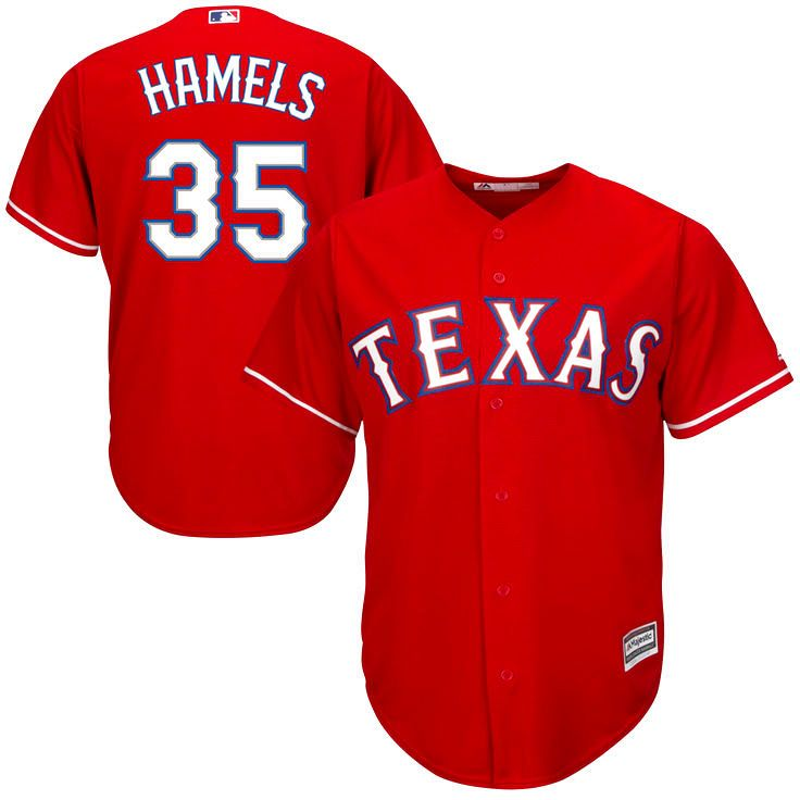 Cole Hamels Texas Rangers Majestic Official Cool Base Player Jersey - Red - $119.99