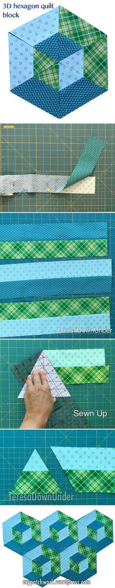 2-minute video tutorial: 3D hexagon quilt block Idea for an equaleral triangle & half-hexie quilt design
