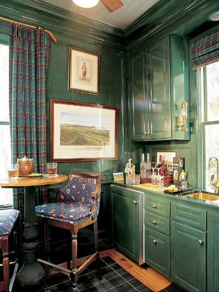 Dark Green Gloss Cabinets And Walls In A Golf Themed Bar Photo Jean