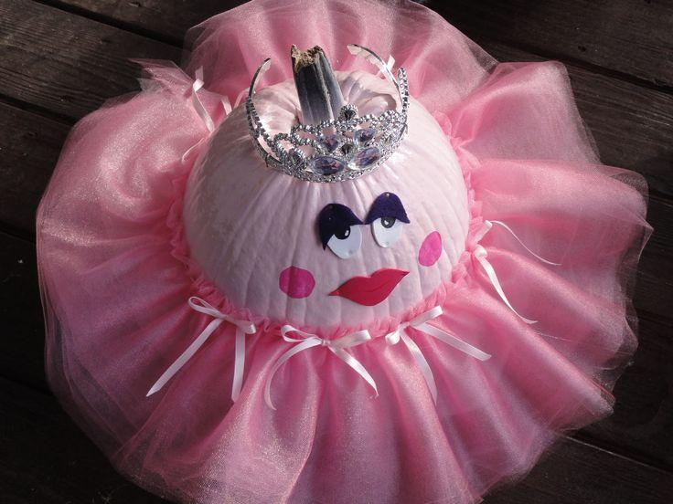 how cute is the pumpkin ballerina pick a small pumpkin paint it pink add