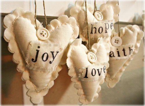 muslin hearts, great way to use all those scrapbook stamps, buttons, scalloped scissors and stays on black ink.  A good project to do while watching fall t.v. Could be a cute neighbor gift.