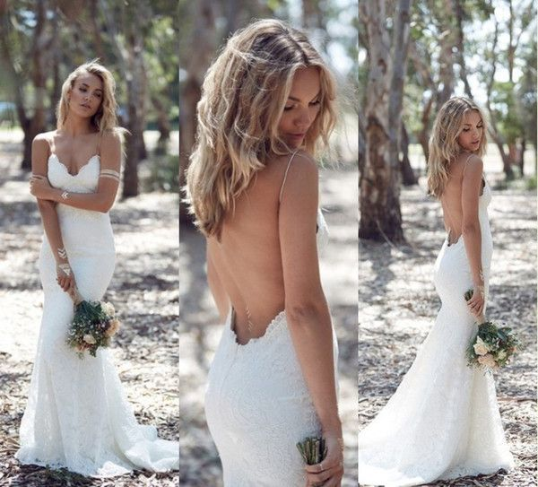 Katie May 2016 Spring Summer Bohemian Wedding Dresses Sexy Mermaid Spaghetti Straps Floor Length Backless Lace Bridal Gowns