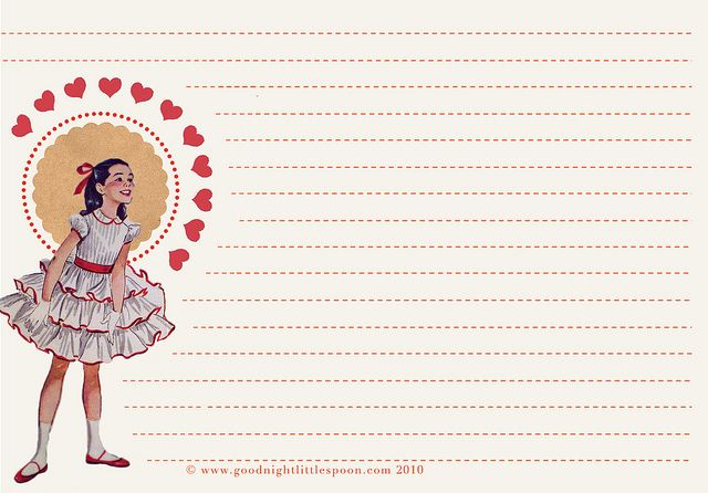 Free Stationery Download: Vintage Girl Notecard #2 by mushab00m, via Flickr