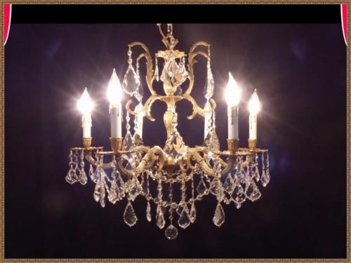 Exceptional-Vintage-Antique-Brass-amp-European-Leaded-Crystal-Chandelier-Rare-Find