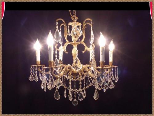 Exceptional-Vintage-Antique-Brass-amp-European-Leaded-Crystal-Chandelier-Rare-Find